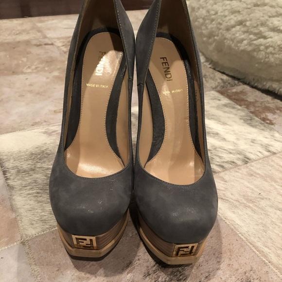 3e77268010d Fendi heels grey
